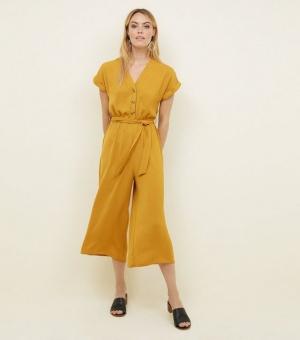 Mustard Button Front Linen-Look Jumpsuit