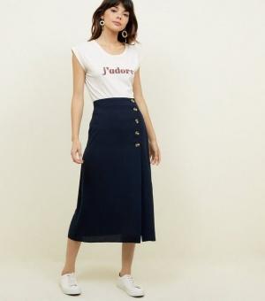 Navy Linen-Look Button Front Midi Skirt